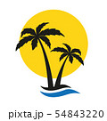 palm tree silhouette summer holiday icon with sun and wave 54843220