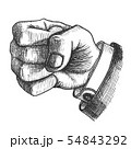 Male Hand Make Fist Gesture Monochrome Vector 54843292