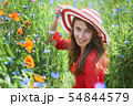 Dreamy woman in red dress and a big red striped hat is sitting in beautiful herb flowering poppy 54844579