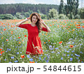 Lovely young romantic woman in straw hat on poppy flower field posing on background summer. Wearing 54844615