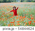 Lovely young romantic woman in straw hat on poppy flower field posing on background summer. Wearing 54844624