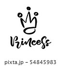 Hand drawn symbol of a stylized crown and calligraphic word Princess. Vector illustration isolated 54845983