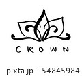 Hand drawn symbol of a stylized icon crown and calligraphic word Crown. Vector illustration isolated 54845984