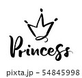 Hand drawn symbol of a stylized crown and calligraphic word Princess. Vector illustration isolated 54845998