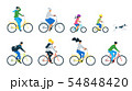 Bicycle riders flat vector illustrations set 54848420