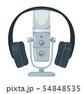 Microphone with headset flat vector illustration 54848535