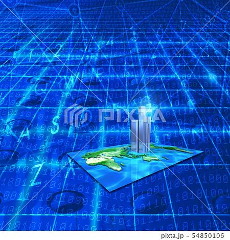 高層ビル未来都市とインターネット 54850106