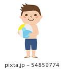 男の子のイラスト。ビーチボールを持った水着姿の男の子。 54859774