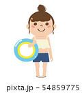 女の子のイラスト。浮き輪を持った水着姿の女の子。 54859775