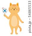 ばつ札を持った猫 クイズ 全身(手描き風) 54865533