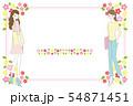 女性と花のフレーム素材 54871451