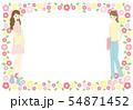 女性と花のフレーム素材 54871452