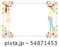 女性と花のフレーム素材 54871453