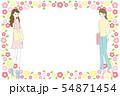 女性と花のフレーム素材 54871454