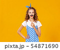 young beautiful funny girl with moustache on 54871690