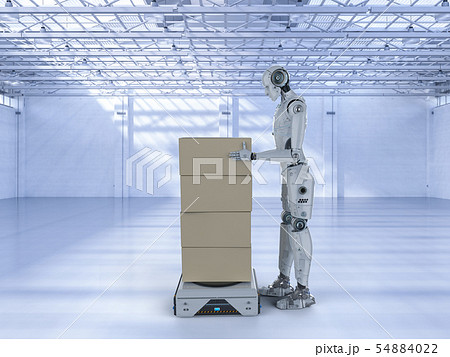 cyborg with warehouse robot 54884022