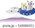 ドローンとネズミくん2体⑫富士の上 横 拡大 青 萌え・目隠し 54888451