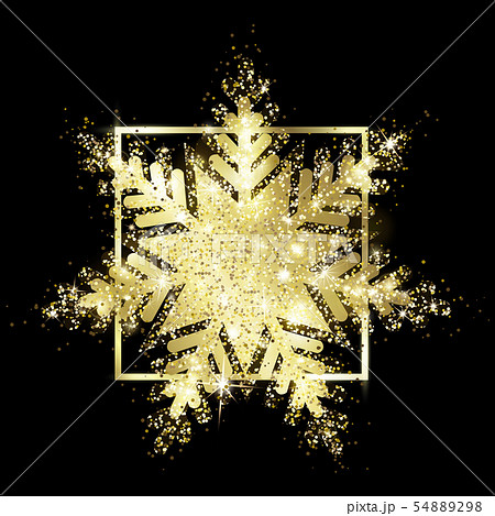Shiny gold glitter. Snowflake of sparks. 54889298