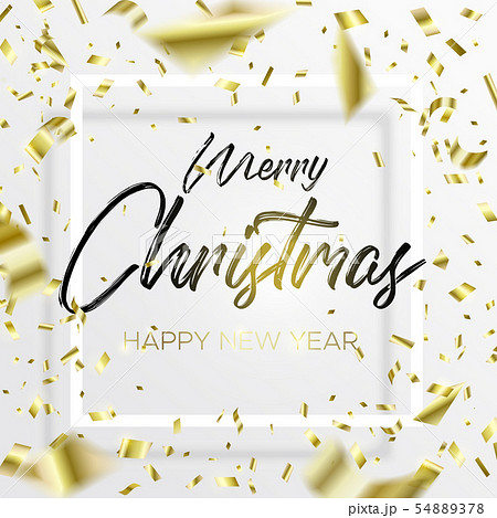 The Lettering Christmas and falling gold confetti 54889378