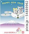 ドローンとネズミくん2体⑨富士の上 縦 拡大 白 萌え 青空 HAPPY 54889962