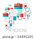 First aid kit equipment background. 54895205