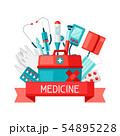 First aid kit equipment background. 54895228