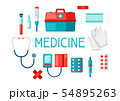 First aid kit equipment background. 54895263