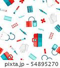First aid kit equipment seamless pattern. 54895270