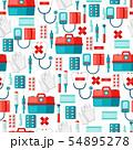 First aid kit equipment seamless pattern. 54895278