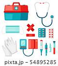 First aid kit equipment. 54895285