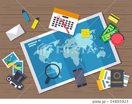 Big world map with different traveling elements on it. Planning of summer vacation route. Vector 54895925