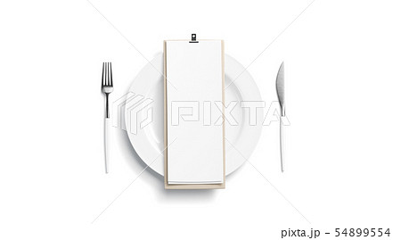 Blank white cafe menu mock up on plate with 54899554