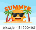 Happy sun smiling on the tropical beach summer 54900408