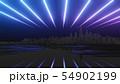 Abstract night city 3D illustration 54902199