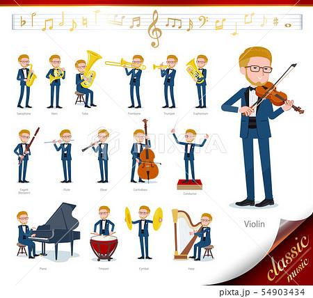 flat type blue tuxedo men_classic music 54903434