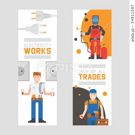 Workmen builders and engineers with tools or equipment set of vertical banners vector illustration 54911397