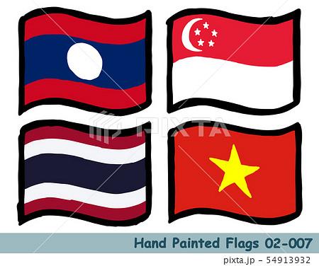 手描きの旗アイコン,ラオスの国旗,シンガポールの国旗,タイの国旗,ベトナムの国旗 54913932