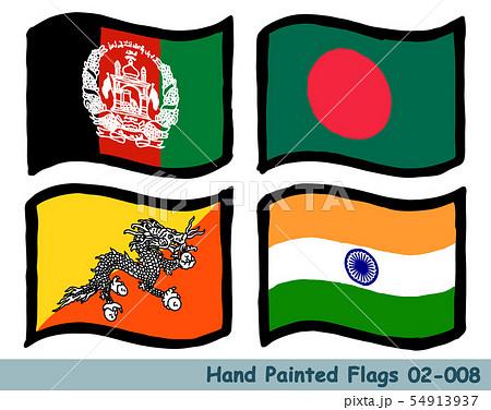手描きの旗アイコン,アフガニスタンの国旗,バングラデシュの国旗,ブータンの国旗,インドの国旗 54913937