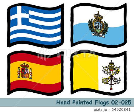 手描きの旗アイコン,ギリシャの国旗,サンマリノの国旗,スペインの国旗,バチカンの国旗 54920841