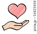 手とハートのアイコン 54925939