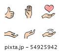 手のサインやハートのアイコン 手描き風 54925942