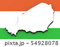 3D map of Niger on the national flag 54928078