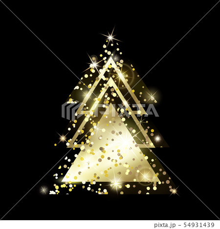 A geometric Christmas tree. Golden Glitter. 54931439
