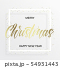 Gold lettering Christmas in the square frame 54931443