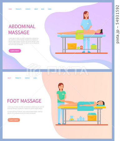 Masseuse Doing Abdominal and Foot Massage Vector 54931592