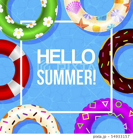 Inflatable swimming ring vector poster with hello summer in white frame. Water toys, floats. Beach 54933157