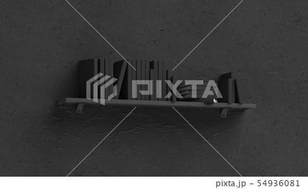Blank white stack of books mockups on shelf 54936081