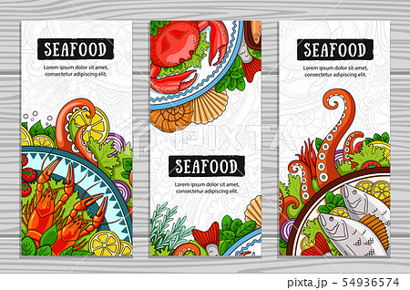 Set of seafood vertical banners.  54936574