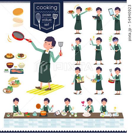 flat type green casual tuxedo men_cooking 54940923