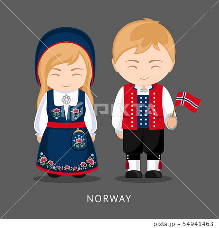 Norwegians in national dress with a flag. 54941463
